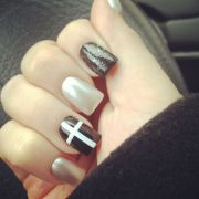 hipster nails. tan. cross. black