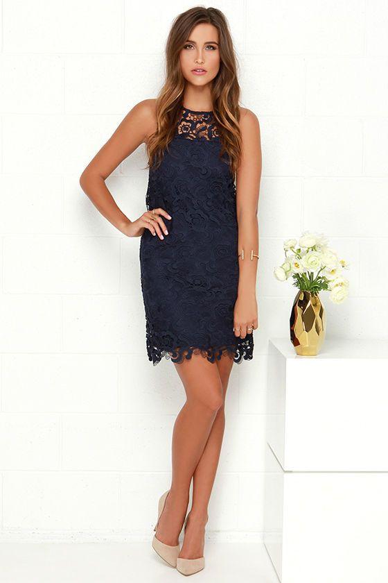 Black Swan Pearl Navy Blue Lace Dress  Blue lace