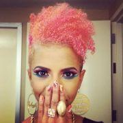 pink natural hair afro orange