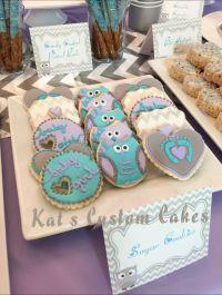 Owl lavender, turquoise, gray chevron sugar cookies baby