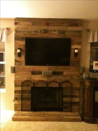 Pallet fireplace surround made with pallet wood and 2x4 ...