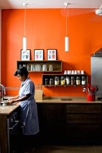 Orange accent wall in Kitchen | Home | Pinterest | Shelves ...