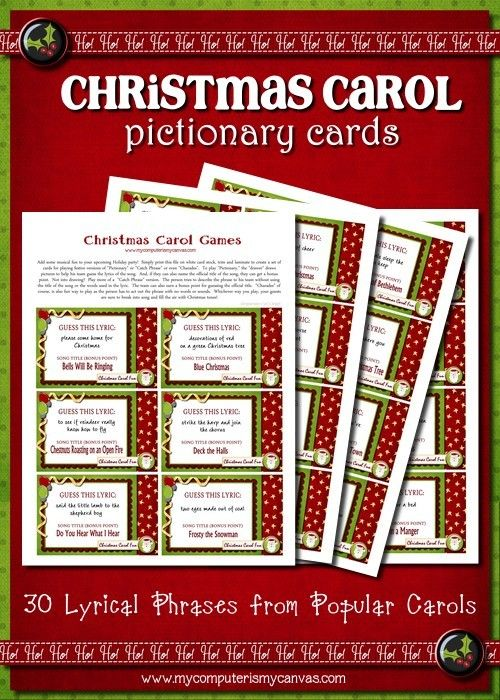 Christmas Carol Pictionary Christmas Games Family Game