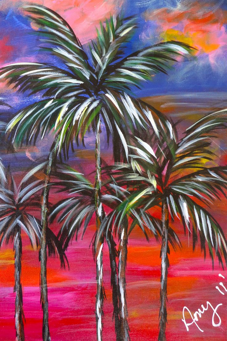 Sunset Palms  Painting  Canvas Ideas  Pinterest  Beautiful Summer and Summer painting