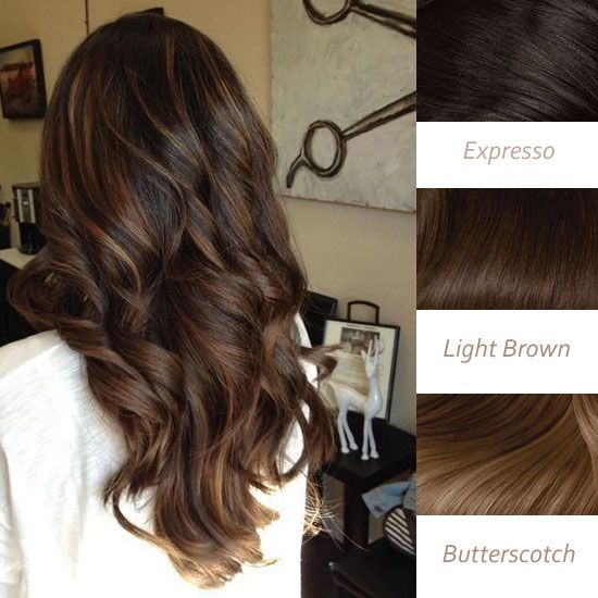 Balayage Highlights and Balayage Ombre for Spring 2014 brown sun-kiss highlights in expresso, light brown and butterscotch brown