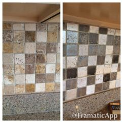 New Kitchen Sink Cost Stools Painted Travertine Tile Backsplash To Gray Tones. | Diy ...