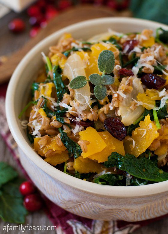 delicious and hearty recipe for farro with butternut squash baby