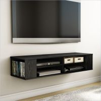 Wall Mounted Media Console Black TV Stand Entertainment ...