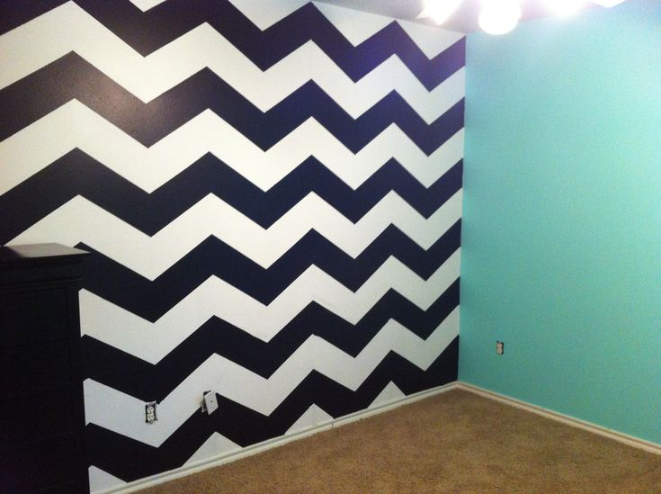 Maddies new room for her Bday Tiffany Blue walls with Chevron accent wall 24 hour project It