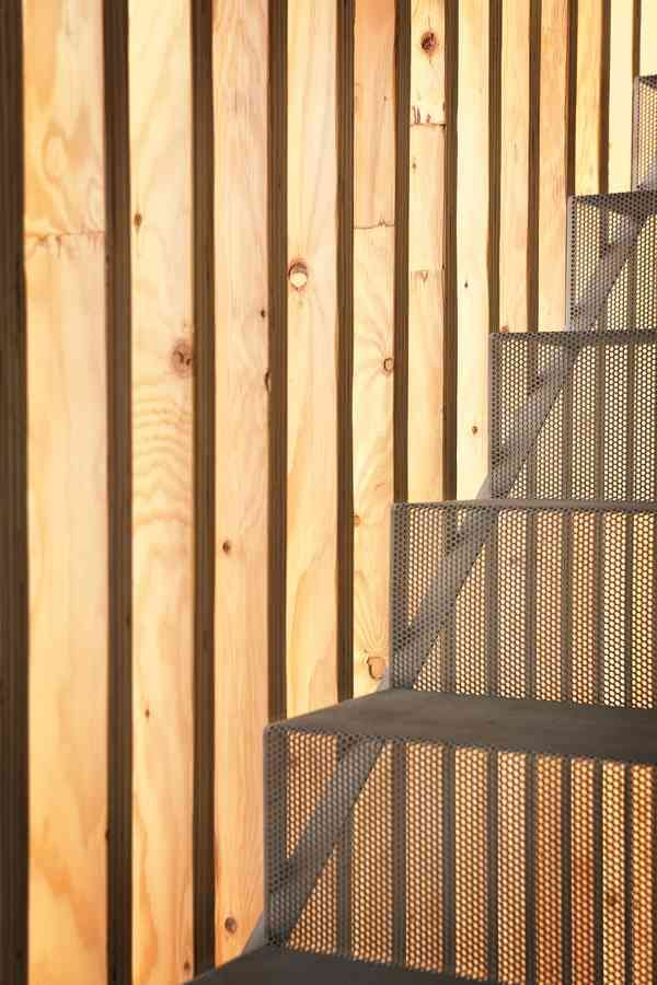 Detail at stair wood slats and perforated metal stair  Stairs  Pinterest  Search Stairs and