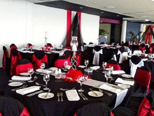 gray chair covers for weddings eames replica chairs melbourne red and black party decorations | wedding white ...