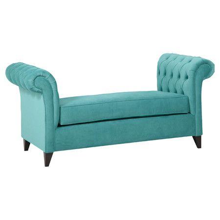 Tufted Roll Arm Bench With Velvet Inspired Upholstery In