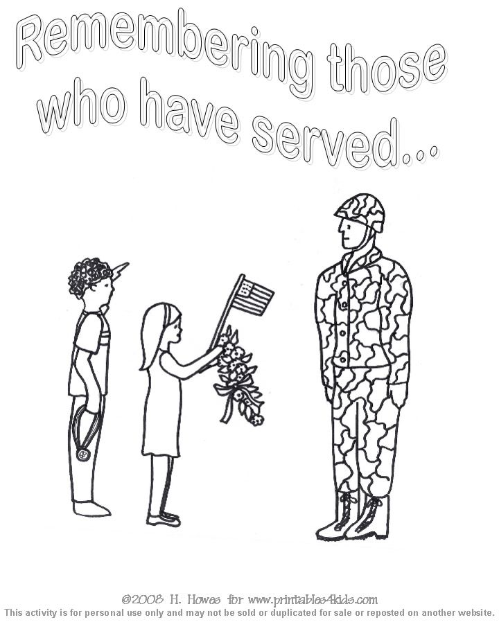 Veterans Day Thank You Coloring Page Sketch Coloring Page