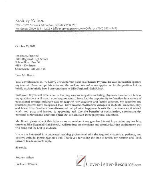 Professional Teacher Cover Letter  Teacher Cover Letter Sample  cover letters  Pinterest