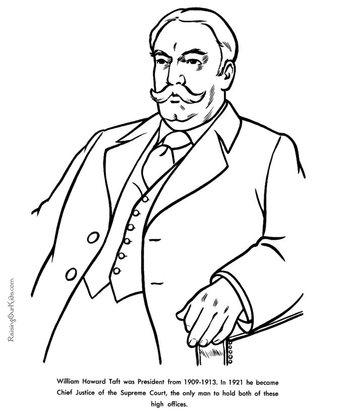 Free printable President William Howard Taft facts and
