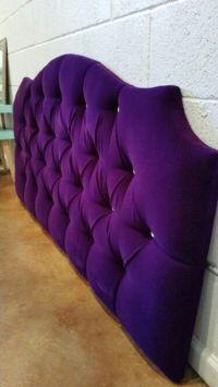 Queen tufted upholstered headboard purple velvet crystal ...
