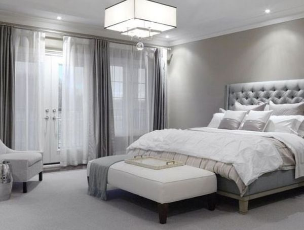 grey and white contemporary bedroom grey tufted headboard with white bedding | Inspire