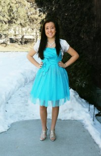 Modest blue semi formal sweethearts homecoming or prom ...