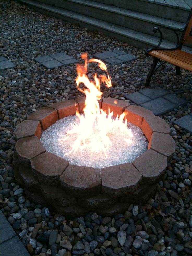 Diy gas fire pit with recycled Pyrex glass  Fire  Pinterest  DIY and crafts Fire pits and Fire