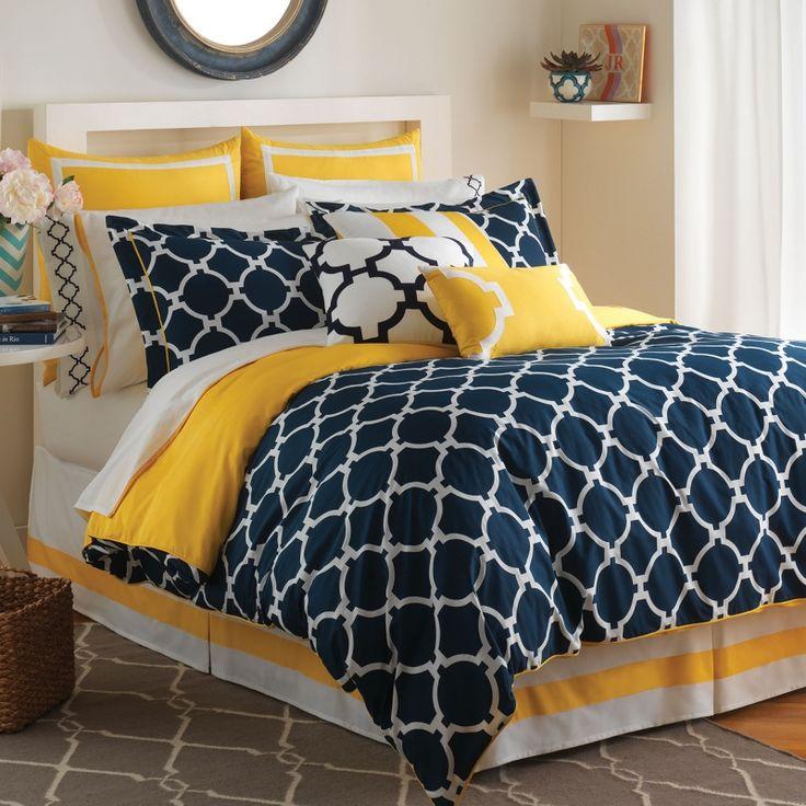 Navy White Yellow Bedspreads Hampton Links Bedding