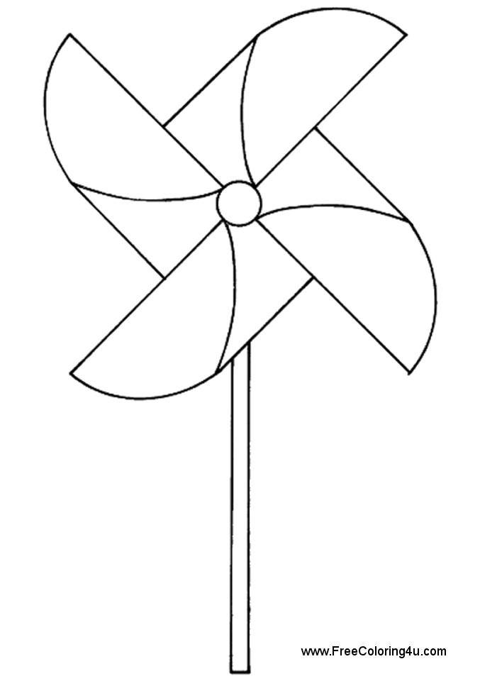 Pinwheel free printable coloring book page. Pinwheel