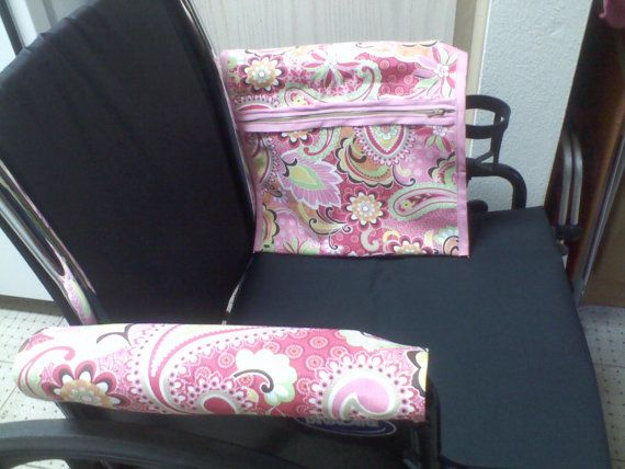 Wheelchair Armrest PouchBag or Walker Pink Paisley Print