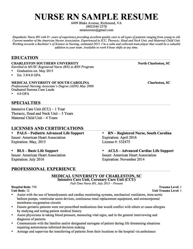 free resumes templates for registered nurses