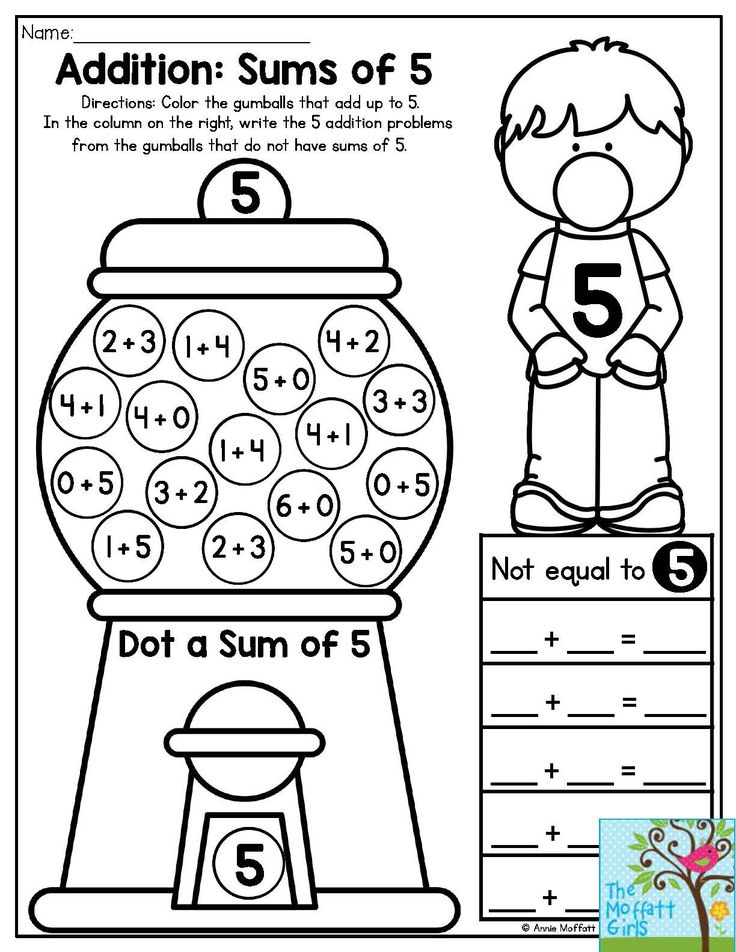 Bubble Gum Numbers- Addition: Sums of 5. Color the