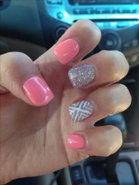 Cute silver peach white acrylic nail design | || BE ...