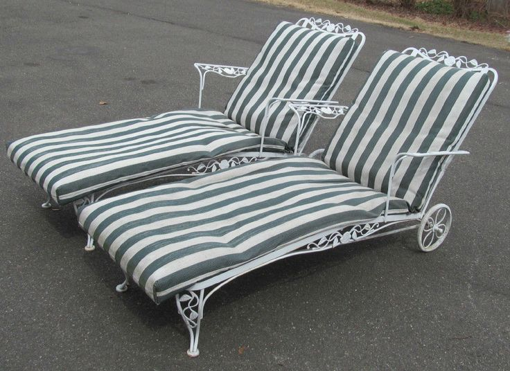 Pair 1940 Woodard Wrought Iron Chantilly Rose Chaise