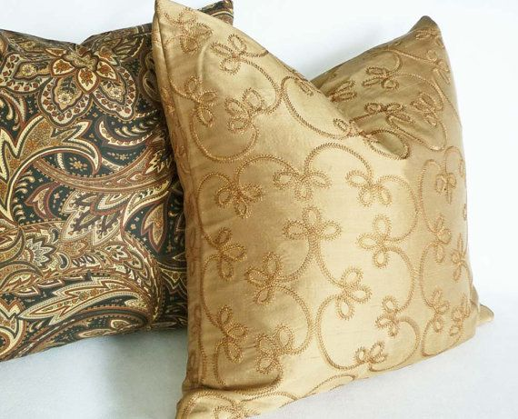 Gold Silk Pillow 14X18 Decorative Throw Pillow Scrolls