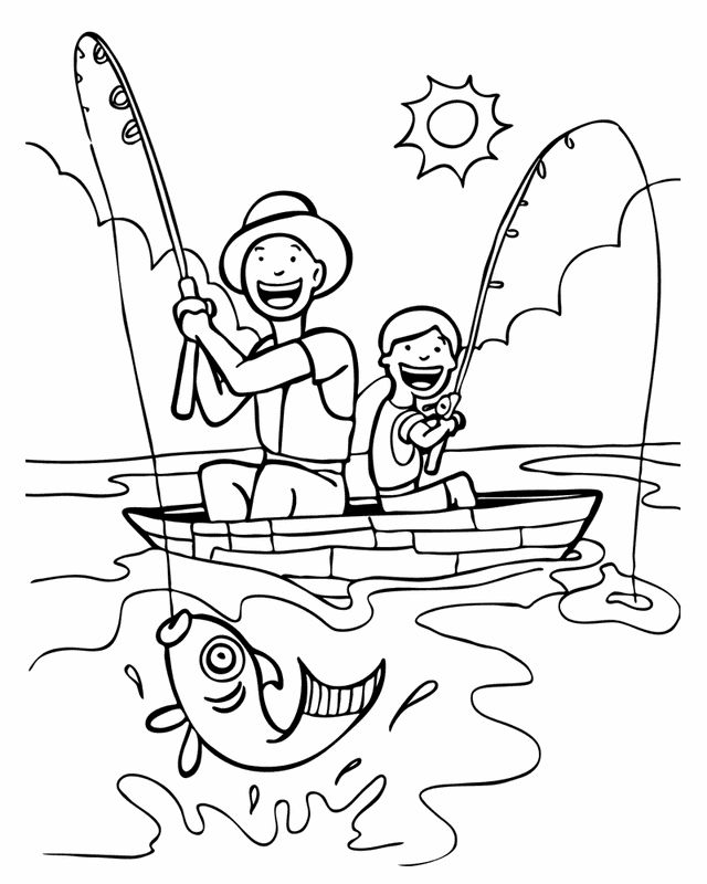 People and places coloring pages: Father and son fishing