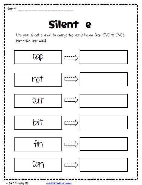 Printables. Silent E Worksheets. Mywcct Thousands of