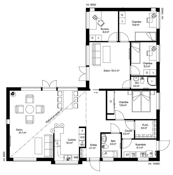 Favori Plan Maison Plain Pied 100m2. Interesting Le Matinire Bungalow  DZ64