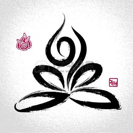 Yoga Posa Del Loto E Simbolo Dell Elemento Fuoco Con Stile