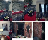 black ops, zombie, camoflage, red rug, teen boy bedroom