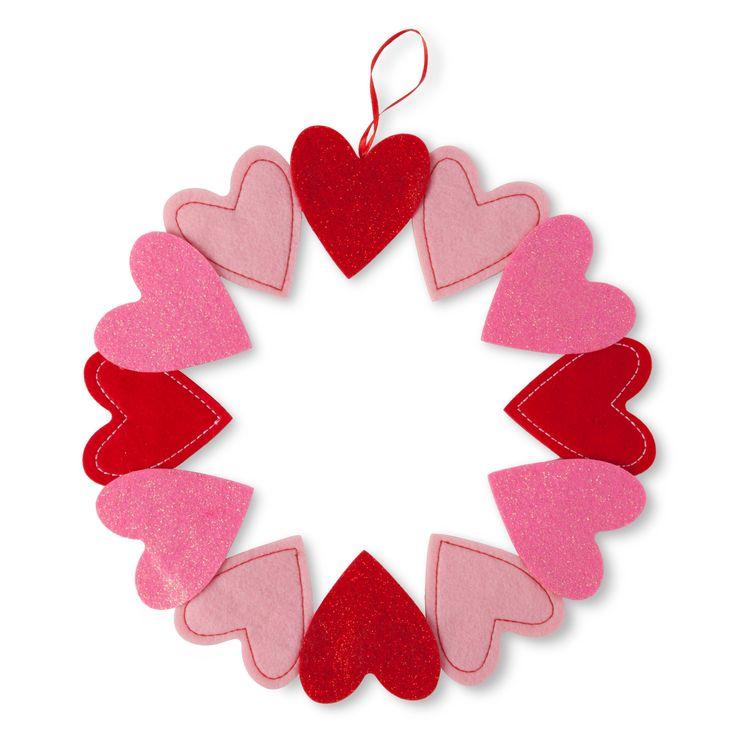 Valentines Day Felt Heart Wreath Spritz Valentines