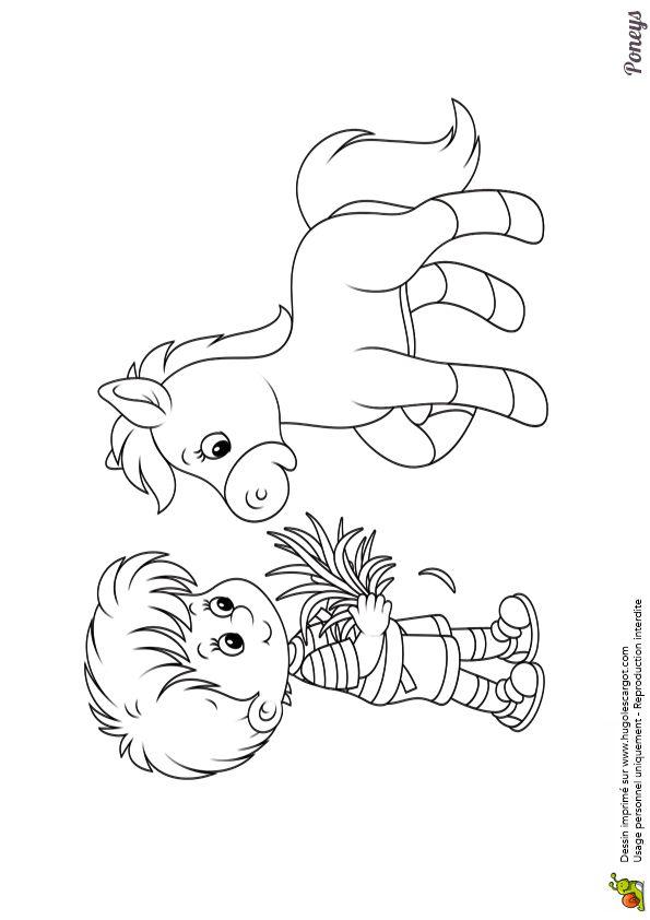 Dessin à colorier d'un petit garçon entrain de nourrir son