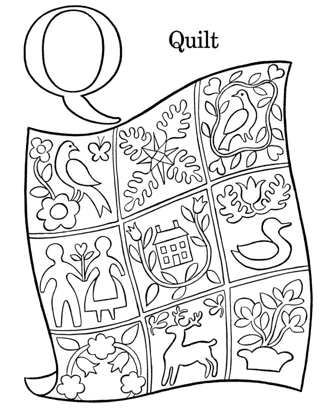 Q Is For Quilt Coloring Page Abcs