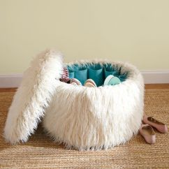 White Fluffy Desk Chair Resin Wicker Rocking Canada Hidden Shoe Storage In This Fun, Fuzzy Ottoman. Great For The Dorms Or A Teen's Room. #shoe # ...