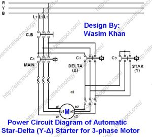The StarDelta (YΔ) 3phase Motor Starting Method by Automatic stardelta starter with Timer
