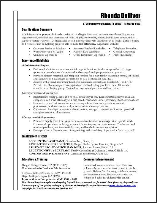 examples of objectives for resumes for administrative assistant