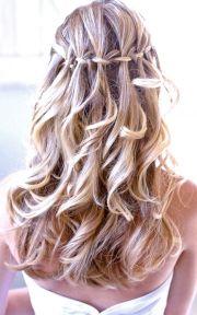 bride's waterfall braid long