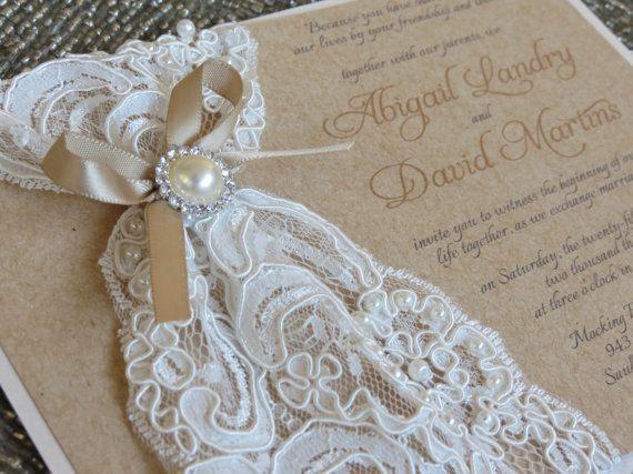 ABIGAIL Burlap Lace Wedding Invitation Vintage Rustic