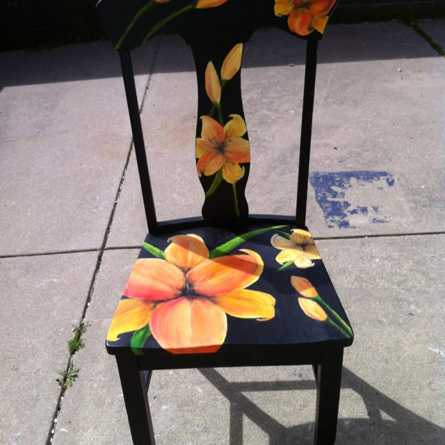Painted Chair Bright Contrast With Black Hand Painted