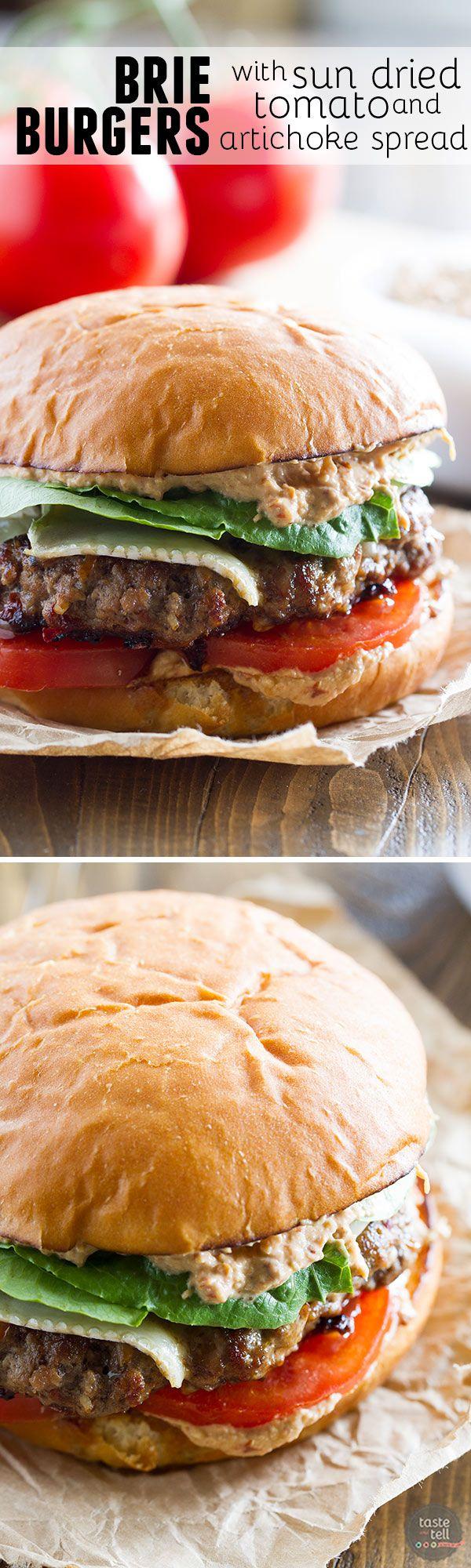 Brie Burger with Sun Dried Tomato and Artichoke Spread