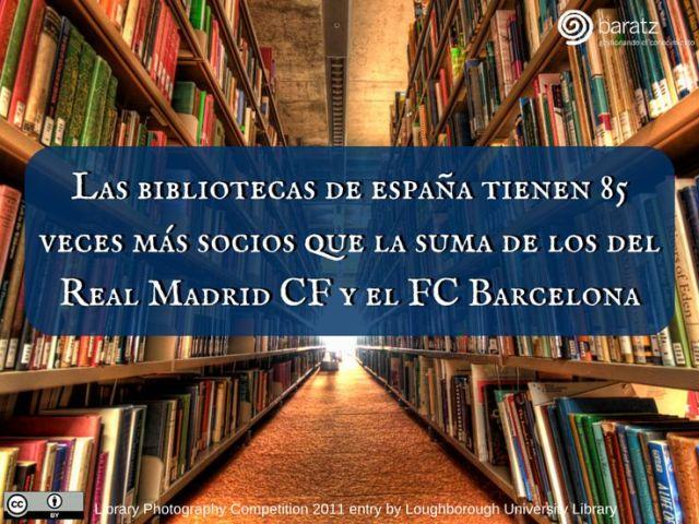 Las bibliotecas de España tienen 85 veces más socios que la suma de los del Real Madrid CF y el FC Barcelona