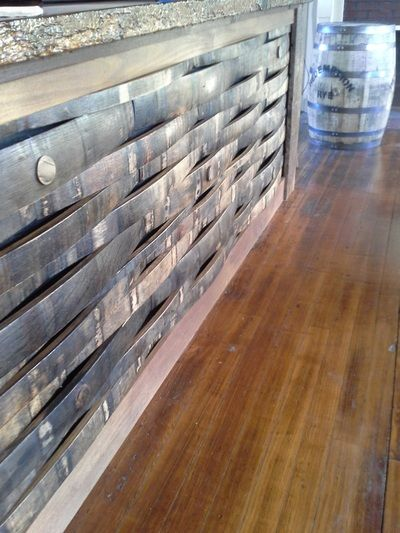 Bar front made from bourbon barrel staves  Gallery