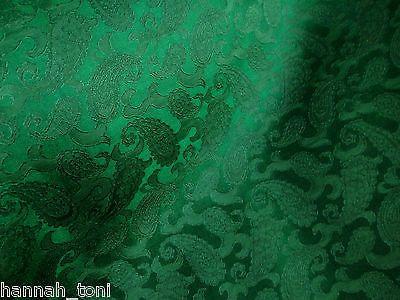 EMERALD GREEN PAISLEY FLORAL SILK SATIN JACQUARD FABRIC