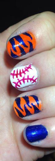 detroit tigers baseball nail art